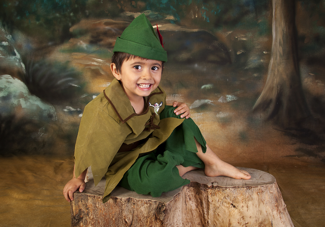 peter pan,pixie, robin hood in the forest on painted background